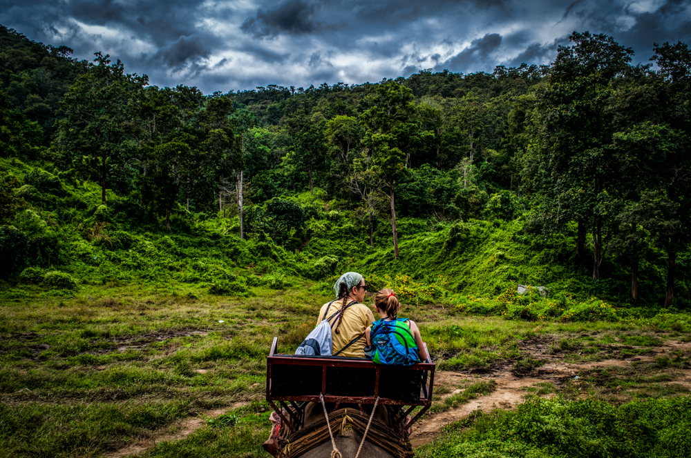 My daughter and I on the back of an elephant enjoying the jungles of Northern Thailand